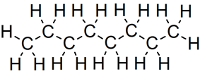 Skeletal formula of octane with all implicit carbons shown, and all explicit hydrogens added