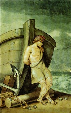 Painting of Odysseus leaning on a ship