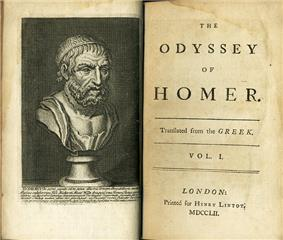 Open ancient book, showing on the left page a bust of a bearded man, on the right the title page giving the following information: