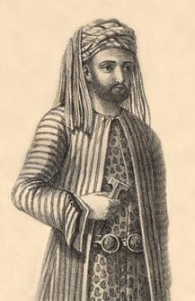 Drawing of bearded man in flowing clothing and hat