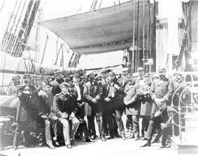 Black and white photo of U.S. Naval Officers on ship off the coast of Korea in 1871.