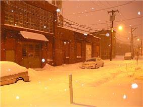 Ogden Street in North Philadelphia on a snowy night.