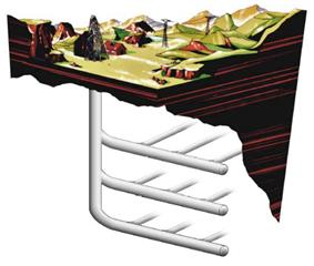 An artist's cross section of an oil shale processing facility using radio waves to deliver heat to the formation. On a plateau surrounded by mountains, transmission towers, an oil derrick, and a few supporting structures are shown above ground. Large opaque pipes represent its underground infrastructure network .