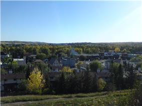 A view of Okotoks; overlooking downtown and facing south.