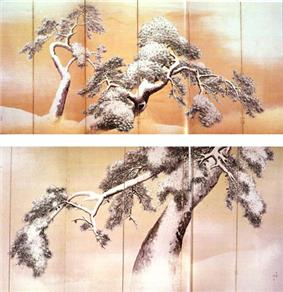 Two paintings of pine trees covered with snow
