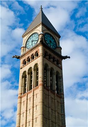 Exterior view of the Old City Hall clock tower