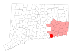 Location within New London County, Connecticut