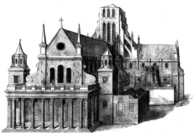 An image of the west front of the cathedral, showing a somewhat incongruous classical-style porch added to the cathedral, with eight tall columns, looking a little like the Parthenon.