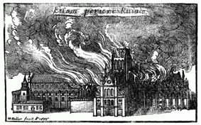 An engraving showing huge flames leaping from the roof of the cathedral.