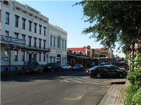 Photograph of a street in the Old Sacramento Historic District.