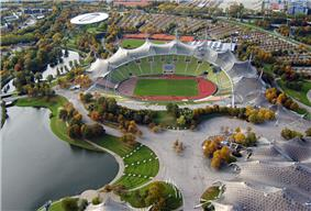 aerial view of stadium and surrounding lake and parking lots