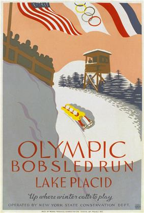 A stylized image shows a four-man bobled running the bobsled track, with an observation tower and spectator viewing area on either side. At the top of the image are the flags of the United States, the Olympic movement, and France, and the bottom of the poster reads,