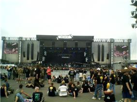 Open-air festival stage in daylight