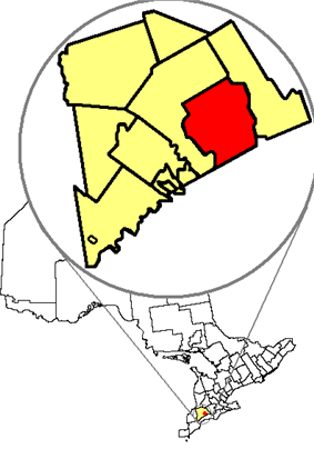 Location of London in relation to Middlesex County and the Province of Ontario.
