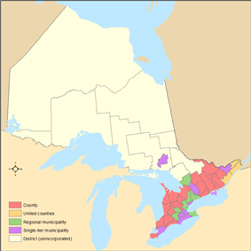 Ontario's census divisions by type from the 2011 federal census