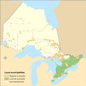 Distribution of Ontario's single-tier and lower-tier municipalities