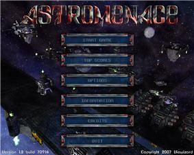 The main menu of AstroMenace