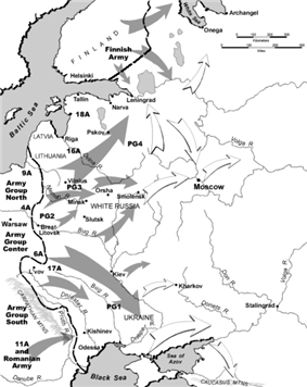 Map depicting actual (grey) and planned (white) Axis and Finnish advances during Operation Barbarossa and the contemporaneous Continuation War