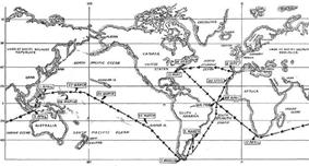 alt=Mercator projection map depicting the submerged navigational track of Triton during Operation Sandblast. The submarine began off the east coast of the United States, went around the southern tip of South America, passed north of Australia across the Pacific Ocean, headed south from Guam through the Philippine Island into the Indian Ocean, passed around the southern tip of Africa, and arrived back on the eastern seaboard of the United States.