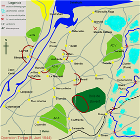 simple map detailing the parachute landing grounds, towns and woods in the area