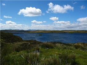 The wind creates ripples on a blue lake surrounded by a low-lying green and brown landscape under small white clouds in a blue sky. Mountains line the distant horizon.