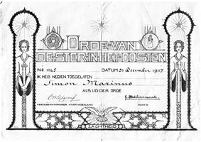 Reproduction of a membership certificate of the Order of the Star in the East