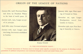 A card with a back and white picture of President Wilson looking serious in the centre and dates with their significance to the League of Nations around the side
