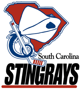 Original South Carolina Stingrays logo: Red silhouette of the state of South Carolina with a white stingray superimposed. Stingray's blue tail is curled around a white hockey stick, with the words
