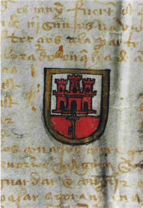 A parchment document with Latin writing in yellow ink and an armorial device in the middle, showing a red castle with a key hanging below on a white and red background, surrounded by a gold shield