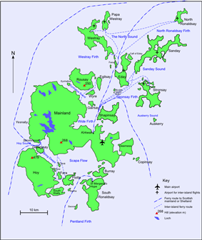 A map of the Orkney archipelago showing main transport routes. A small island with a high elevation is at south west. At centre is the largest island, which also has low hills. Ferry routes spread out from there to the smaller islands in the north.