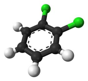 Ball-and-stick model of 1,2-dichlorobenzene