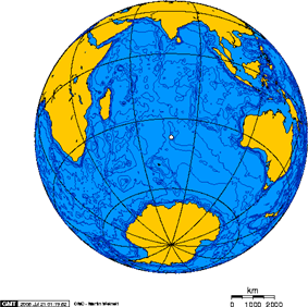 Orthographic projection centred over Île Amsterdam.