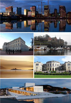 From upper left: Rising skyline over Bjørvika, Royal Palace, Akershus Castle, sunset over Oslofjord, Stortinget, Oslo Opera House