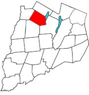 Otsego County map with the Town of Exeter in Red