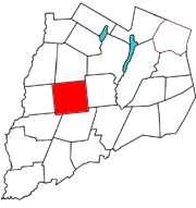 Otsego County map with the Town of New Lisbon in Red