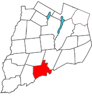 Otsego County map with the Town of Oneonta in Red