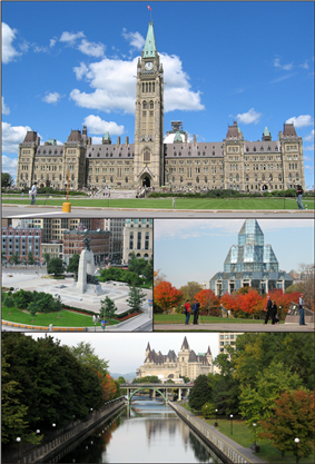 Centre Block on Parliament Hill, the National War Memorial in downtown Ottawa, the National Gallery of Canada, and the Rideau Canal and Château Laurier.