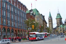 Downtown Ottawa looking towards Parliament Hill