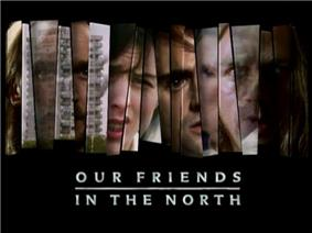 Opening title sequence of the television programme. Fragments of scenes from the series and the changing faces of the four lead characters are displayed in jagged vertical strips, with the title caption written beneath, against a black background.