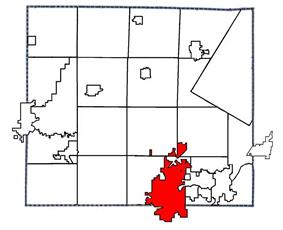 Location of Appleton in Outagamie County, Wisconsin