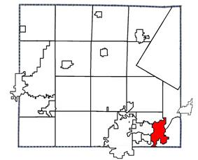Location of Kaukauna in Wisconsin in Outagamie County