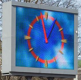 Outdoor 4 x 3 m large LED screen in Jelgava, Latvia.