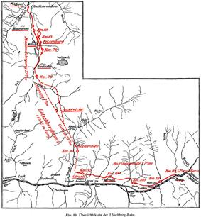 Outline map of the Lötschberg line between Spiez and Brig in Switzerland, showing the part from Frutigen to Brig. Note the double loop completed with a 270 degree spiral tunnel between Kandergrund and Felsenburg (ca. km 60 and 70) and the straight stretch of the Lötschberg tunnel between km 75 and 90.