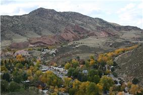 Town of Morrison with Red Rocks amphitheater in background