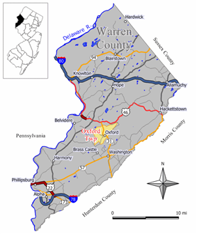 Map of Oxford Township in Warren County. Inset: Location of Warren County in New Jersey.