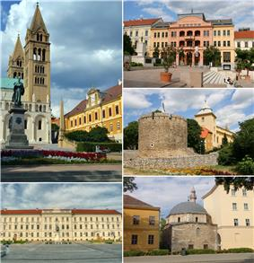 Pécs、Clockwise from top left: Cathedral, Széchenyi Square, the Barbakán, Mosque of Jakováli Hasszán pasa, Kossuth Square