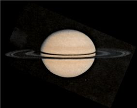 Pioneer 11 image of Saturn (image F81). Taken on 1979/08/26, showing the satellite Rhea