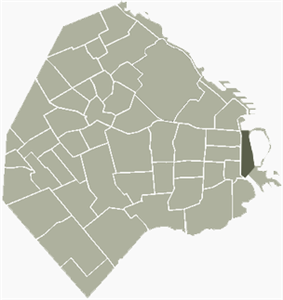 Location of Puerto Madero within Buenos Aires