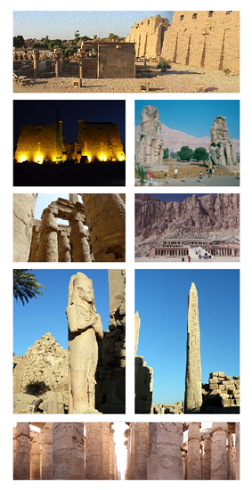Top: First pylon in Precinct of Amun-Re, 2nd left: Night view in Luxor Temple, 2nd right: Colossi of Memnon Statue, Middle left: Pillars of Great Hypostyle Hall ancient site, Middle right: Hatshepsut Temple in Deir el-Bchari, 4th left: Statue of Ramses Ⅱ  in Karnak Temple, 4th right: Needle Monument in Karnak Temple, Bottom: View of Pillars of Great Hypostyle Hall ancient site