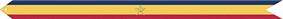 A streamer with red, gold, and blue horizontal stripes with a bronze star in the center